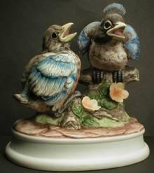Hand Painted Lefton Blue Birds Figurine