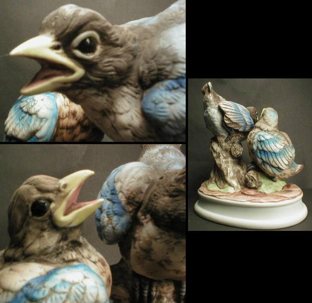 Hand Painted Lefton Blue Birds Figurine