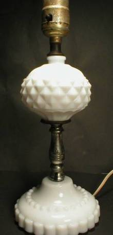 Pretty and Shabby Chic Diamond Pattern Milk Glass Lamp