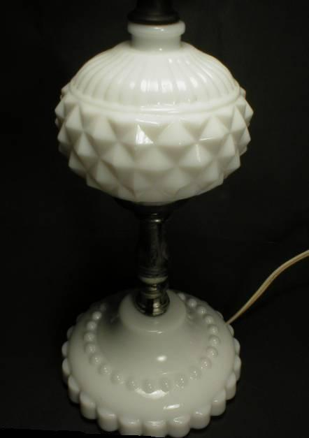 Pretty and Shabby Chic Diamond Pattern Milk Glass Lamp