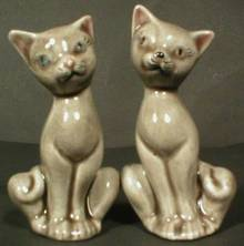Adorable Pair of Gray Cat Miniature Figurines