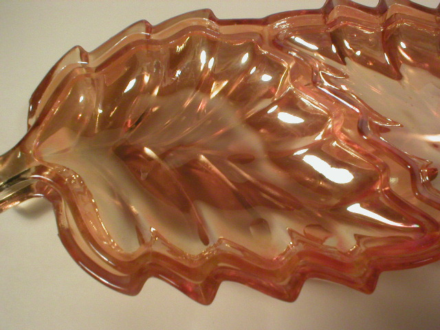 Three Piece Marigold Iridescent Leaf Relish Set
