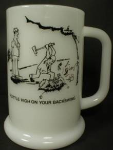 Cute Milk Glass Golfer Beer Mug