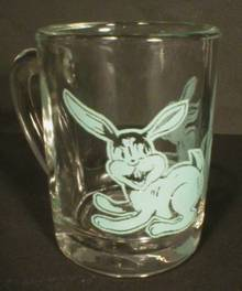 Adorable Blue Bunny Glass Child's Cup