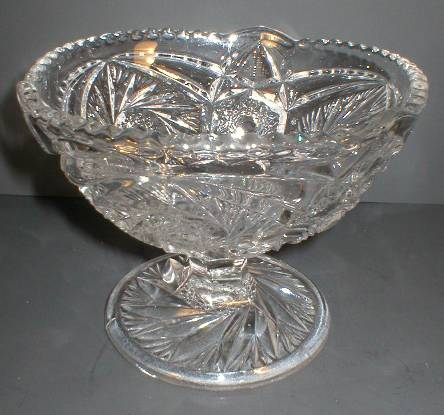 US Glass Whirling Star Footed Jelly Compote