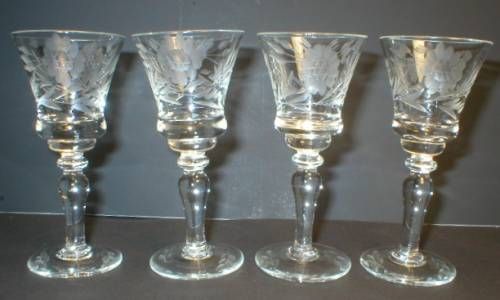 Set of Four Pretty Cut Glass Cordials
