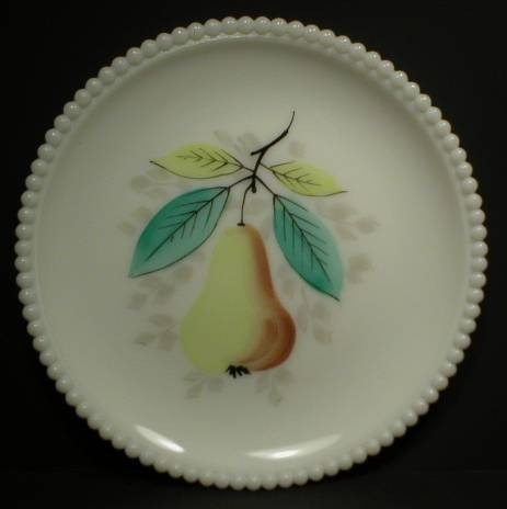 Pretty Westmoreland Milk Glass Beaded Plate - Pear