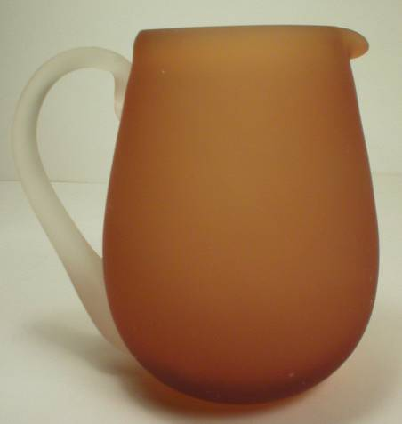 Blown Glass Frosted Amber Cream Pitcher