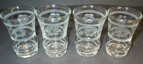 Set of Four Pretty Cut Glass Cordial Shot Glasses