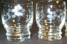 Set of Two Pretty Cut Glass Shot Glasses