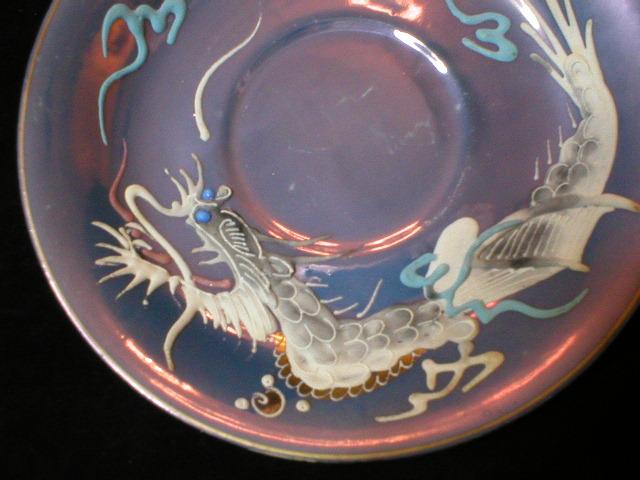 Geisha Moriage Dragonware Saucer - Blue Lustre