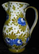 Large Italian Majolica Blue Roses Pitcher Jug