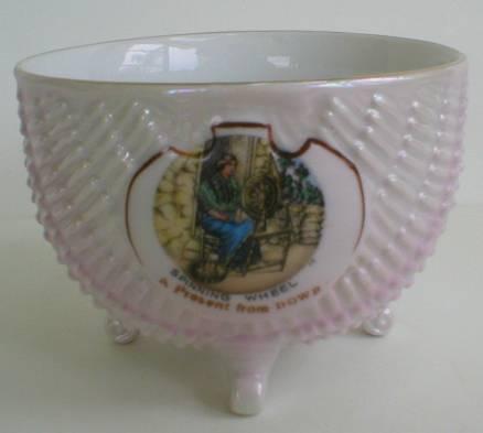 Beautiful Bavaria Lusterware Souvenir Bowl - Spinning Wheel - Dowr