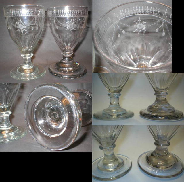 1700's Hand Made Engraved Goblet Pair