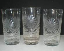 Stunning Set of Three Daisy Cut Tumblers + Three Free