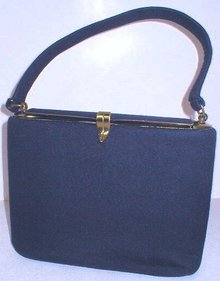 Vintage 1950's Ingber Navy Blue Felt Purse