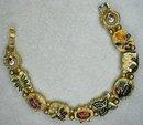 Pretty Enamel & Rhinestone Bugs Slide Charm Bracelet