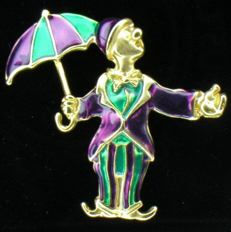 Adorable Enamel on Gold Vermeil Clown & Umbrella Brooch