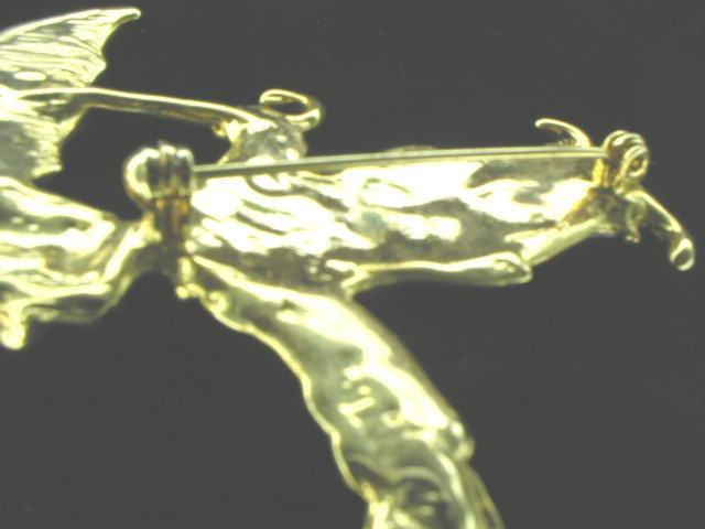 Adorable Enamel on Gold Vermeil Clown & Umbrella Brooch