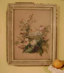 1800s Glass Oil Painting * Wild Flowers *