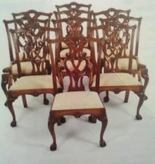 SET OF 10 CHIPPENDALE STYLE CARVED MAHOGANY DINING CHAIRS