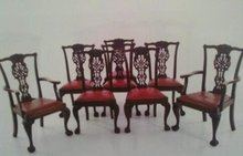 SET OF 8 ENGLISH CARVED MAHOGANY DINING CHAIRS