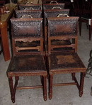 SET OF 6 OAK LEATHER  IMPRESSED CHAIRS