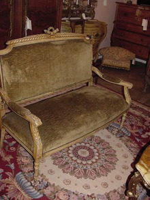 3 PIECE FRENCH PAINTED AND GILDED PARLOR SET