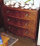 19TH CENTURY ENGLISH MAHOGANY BOW FRONT CHEST OF DRAWERS