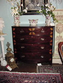 19TH CENTURY GEORGIAN INLAID BOW FRONT CHEST OF  DRAWERS