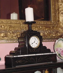 Black Marble Mantle  Clock With Candle Holder