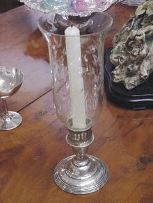 PAIR OF STERLING CANDLEHOLDERS WITH HURRICANE SHADES