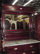 MARBLE TOP MAHOGANY SERVER WITH MIRROR