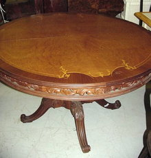 Carved Oval Inlaid Pedestal Dining Table