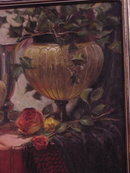 Julie Ford Oliver, Still Life with Vases and Roses, Oil on Canvas