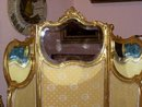 LOUIS XV STYLE THREE PANEL SCREEN WITH LOUIS XVI STYLE GILT WOOD BERGERE