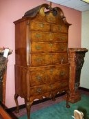 QUEEN ANNE STYLE CARVED WALNUT AND BURL HIGHBOY