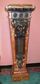 PAIR CONTINENTAL FAUX-PAINTED AND CARVED WOOD PEDESTALS