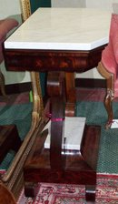 AMERICAN CLASSICAL MAHOGANY AND MARBLETOP PIER TABLE