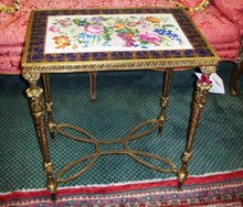 CONTINENTAL PORCELAIN AND BRONZE TEA TABLE