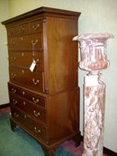 GEORGE III CARVED MAHOGANY CHEST-ON-CHEST