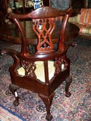 Pair of Chinese Chippendale Style Carved Walnut Corner Chairs