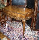 Chippendale Style Walnut and Burl Game Table with Tapestry Playing Surface