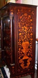 DUTCH MAHOGANY AND MARQUETRY TALL CHEST OF DRAWERS