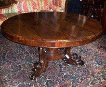 REGENCY CARVED ROSEWOOD CIRCULAR BREAKFAST TABLE