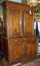 FRENCH PROVINCIAL CARVED FRUITWOOD CABINET ON CABINET