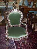 PAIR OF SYRIAN MOTHER OF PEARL AND SILVER INLAID HARDWOOD ARMCHAIRS