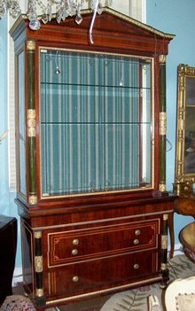 EMPIRE STYLE INLAID MAHOGANY AND GILTWOOD DISPLAY CABINET