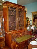 GEORGE III STYLE INLAID MAHOGANY SECRETARY BOOKCASE