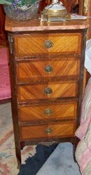 PAIR LOUIS XV STYLE MARBLE TOP KINGWOOD LINGERIE CHESTS
